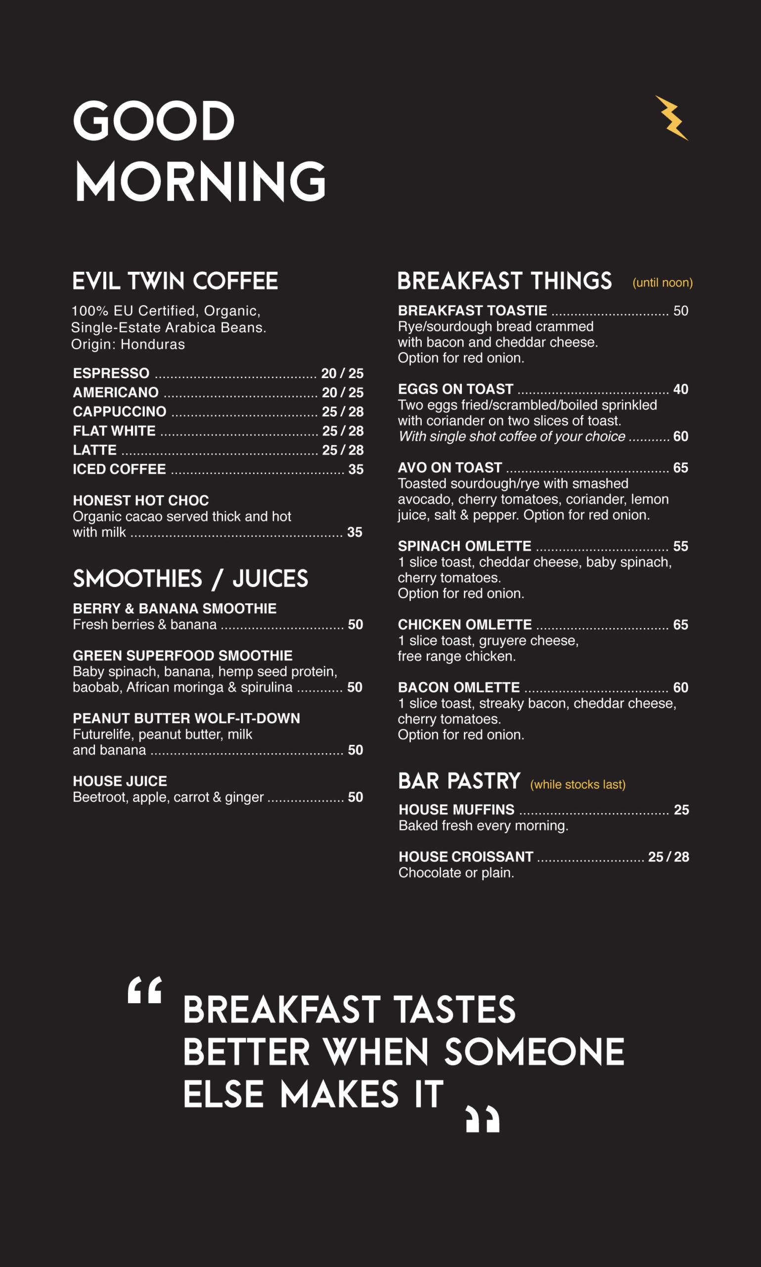 THoM Breakfast Menu